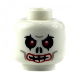 White Minifig, Head Skull Evil with Red Eyes and Red Lips Pattern