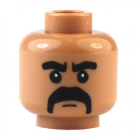 Flesh Minifig, Head Moustache Black Fu Manchu with Thick Black Eyebrows Pattern