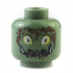 Sand Green Minifig, Head Alien with Yellow Eyes, Pointed Teeth and Bubbles Pattern