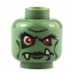 Lego Accessoires Minifig Tête orque, avec des yeux rouges, lèvres verts foncés et crocs (La Petite Brique)