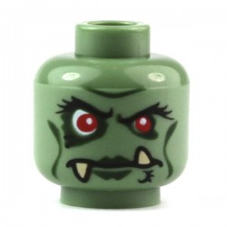 Sand Green Minifig, Head Troll with Red Eyes, Dark Green Lips and Lower Fangs Pattern