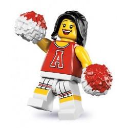 LEGO Minifigures Serie 8 - la pom-pom girl rouge - 8833 (La Petite Brique, le spécialiste de la minfig)