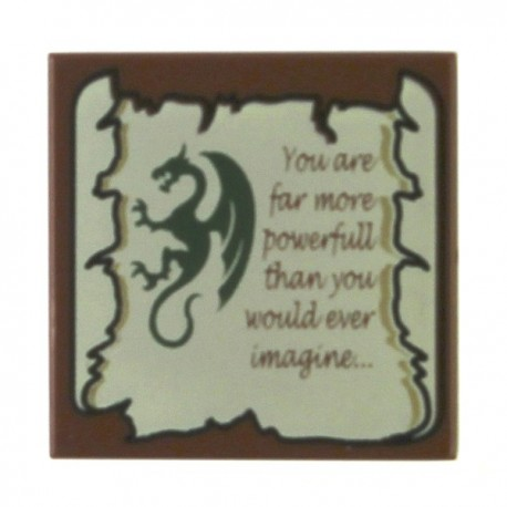 Tile 2 x 2 with Dragon and Scroll