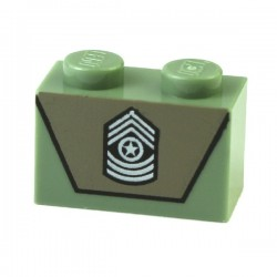 Sand Green Brick 1 x 2 with Army Emblem on Dark Tan Background Pattern