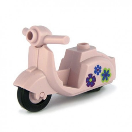 Lego Custom Minifig BRICKFORGE Vintage Scooter (rose) Fleurs (La Petite Brique)