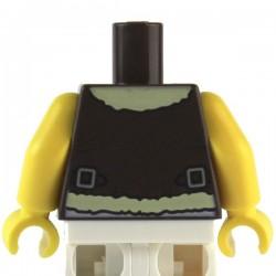 LEGO Minifig Accessoires Torse Marron foncé, Veste Aviateur, bras et mains jaunes (La Petite Brique)