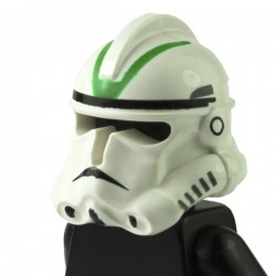 Minifig, Headgear Helmet SW Clone Trooper Ep.3 Pattern with Green Stripes