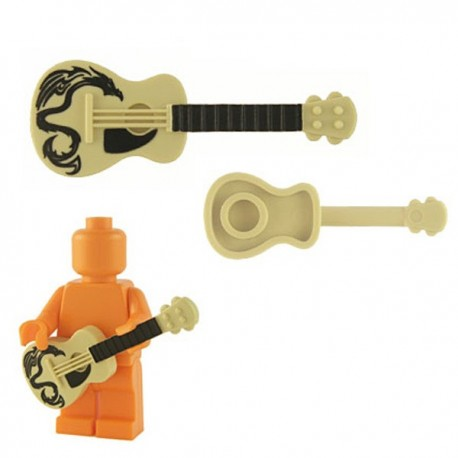 Lego Minifig Custom Accessoires BRICKFORGE Guitare accoustique (beige-Dragon) (La Petite Brique)