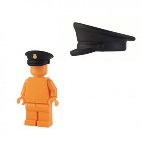 Officer Hat - Black (gold shield print)