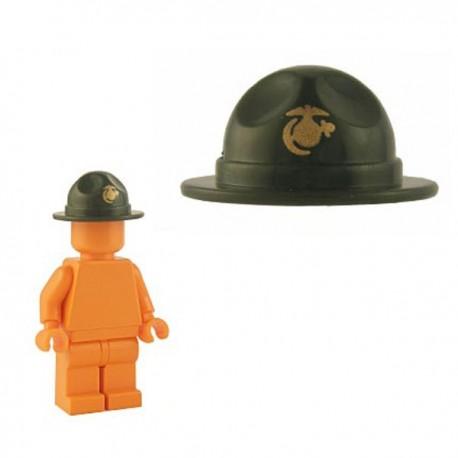 Lego Minifig Custom Accessoires BRICKFORGE Chapeau Ranger (vert militaire - insigne doré USMC) (La Petite Brique)