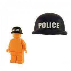 Soldier Helmet - Black (white POLICE print)