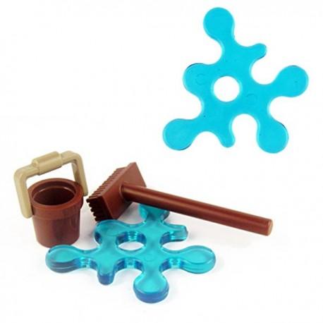Lego Minifig Custom Accessoires BRICKFORGE Eclaboussure, Liquide (bleu transparent) (La Petite Brique)