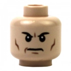Minifig, Head Male Black Angry Eyebrows, Frown and Cheek Lines Pattern (Lex)