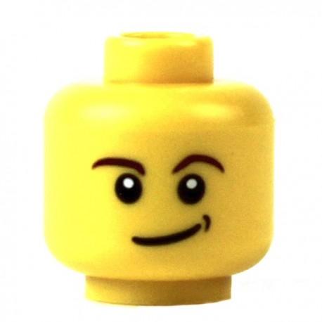Lego Minifig Accessoires Tête masculine jaune, sourire en coin (La Petite Brique)