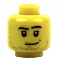 Lego Minifig Accessoires Tête masculine jaune, barbe naissante (La Petite Brique)