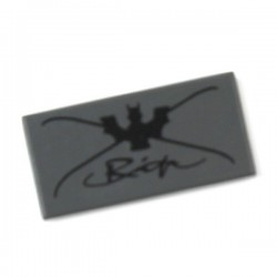 Dark Bluish Gray Tile 1 x 2 with Bat and Cursive Writing Pattern