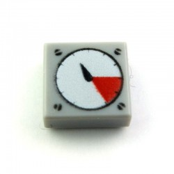 Light Bluish Gray Tile 1 x 1 with White and Red Gauge Pattern