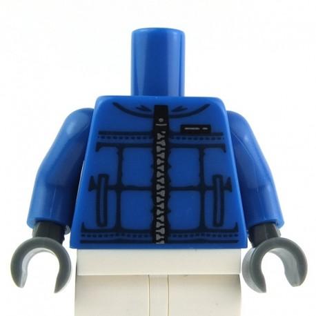 Lego Accessoires Torse - Veste bleue avec fermetue éclair - La Petite Brique