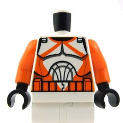 White Torso SW Armor Clone Trooper with Orange Markings Pattern (Clone Wars) / Orange Arms / Black Hands