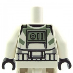 White Torso SW Armor Clone Trooper with Sand Green Markings Pattern (Clone Wars) / White Arms / Black Hands