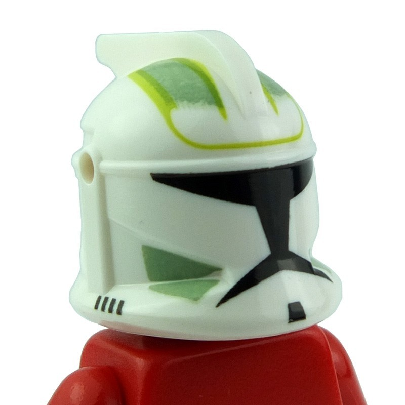 3a5c70e131c White Minifig, Headgear Helmet SW Clone Trooper with Holes, Sand Green  Markings Pattern. Condition: New product. Lego minifig accessories