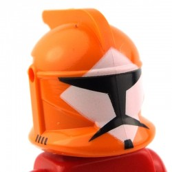 Orange Minifig, Headgear Helmet SW Clone Trooper with Holes, Bomb Squad Trooper Pattern
