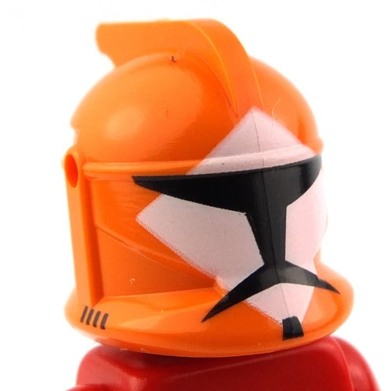 Lego Star Wars Minifig Headgear Helmet SW Republic Trooper with Orange Pattern