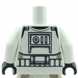 White Torso SW Armor Clone Trooper (Clone Wars) / White Arms / Black Hands