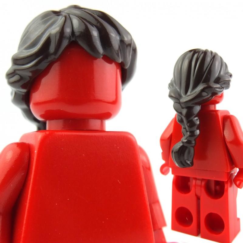 2 CUSTOM LEGO WHITE /& BLACK PONYTAIL HAIRS new