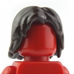 Lego Accessoires Minifig Cheveux mi-long, ébouriffé, raie au milieu (marron foncé) La Petite Brique