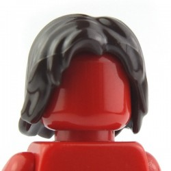 Dark Brown Minifig, Headgear Hair Mid-Length Tousled with Center Part