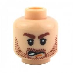 Light Flesh Minifig, Head Dual Sided Beard Stubble, Bushy Eyebrows, Determined / Grin Pattern
