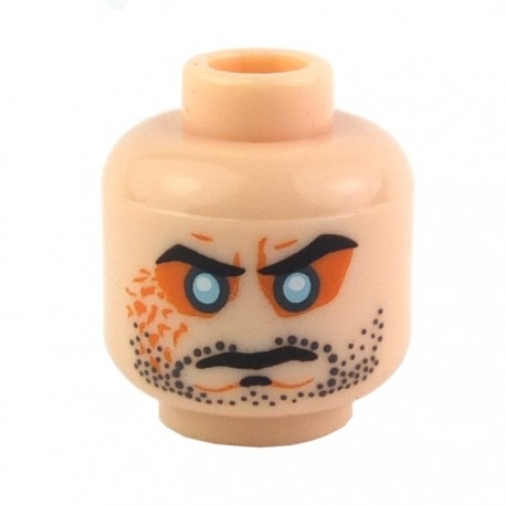 Light Flesh Minifig, Head Beard Stubble, Cleft Chin, Evil Eyes, Arched Eyebrows Pattern