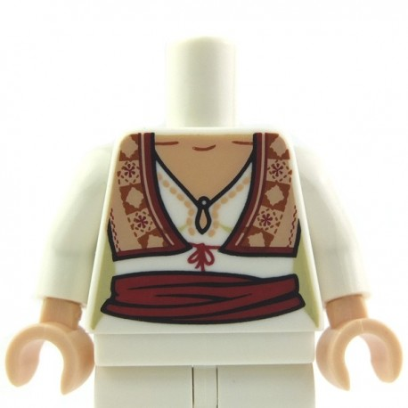 Lego Accessoires Torse féminin - Chemisier blanc avec encolure, gilet fleuri et écharpe rouge (chair) - La Petite Brique