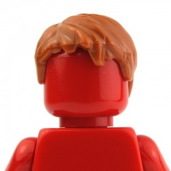 Dark Orange Minifig, Headgear Hair Short, Tousled with Side Part