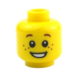 Yellow Minifig, Head Child Brown Eyebrows and Freckles, Open Smile, White Pupils