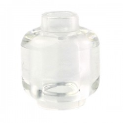 Trans-Clear Minifig, Head (Plain) - Stud Recessed