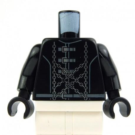 Lego Accessoires Minifig - Torse - veste noire avec Boucles et chaînes (La Petite Brique)