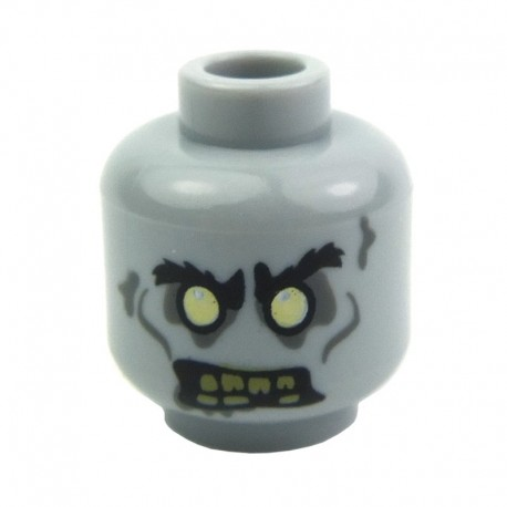 Light Bluish Gray Minifig, Head Zombie Yellowed Teeth with One Missing Tooth