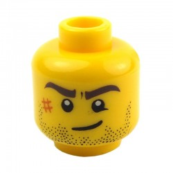 Yellow Minifig, Head Beard Stubble, Brown Eyebrows, Crooked Smile, White Pupils and Scar