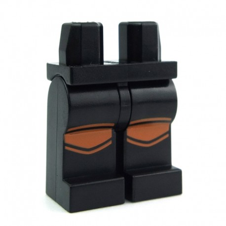 LEGO Black Minifigure Legs with Reflective Stripes Pattern