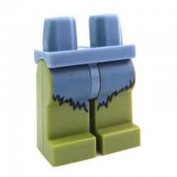 Lego Minifig Jambes - Vert Olive et Fourrure Sand Blue (La Petite Brique)