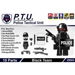 Lego Si-Dan Toys Police Tactical Unit Black Team Pack (10 pièces) (noir) (La Petite Brique)