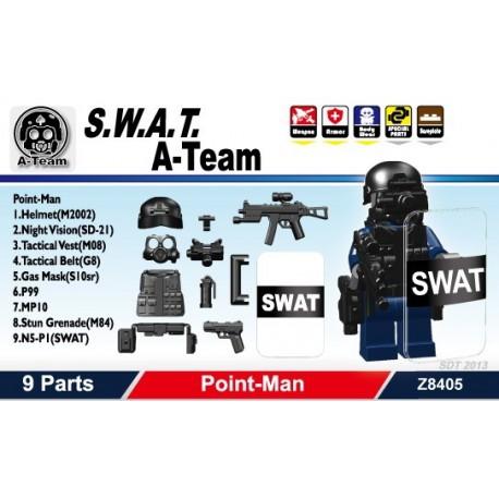 Lego Si-Dan Toys S.W.A.T. A-Team (Point Man) Pack (9 pièces) (noir) (La Petite Brique)