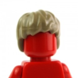 Dark Tan Minifig, Headgear Hair Short, Tousled