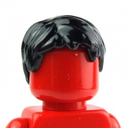 Black Minifig, Headgear Hair Short, Tousled with Side Part