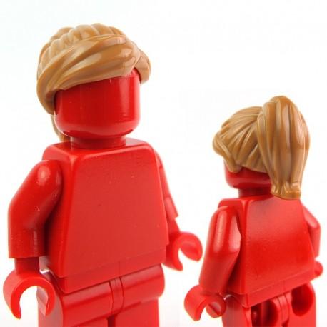 Lego Accessoires Minifig - Cheveux queue de cheval, frange sur le côté (Medium Dark Flesh) (La Petite Brique)