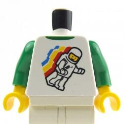 Lego Minifig Torse - Logo Classic Space Minifig, bras verts, mains jaunes (La Petite Brique)