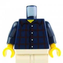 Lego Accessoires Minifig - Torse - Chemise Plaid Bleue foncée (La Petite Brique)