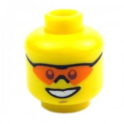 Lego Accessoires Minifig - Tête masculine jaune, lunettes orange, 19 (La Petite Brique)
